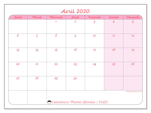 Calendriers avril 2020 (LD).  63LD.