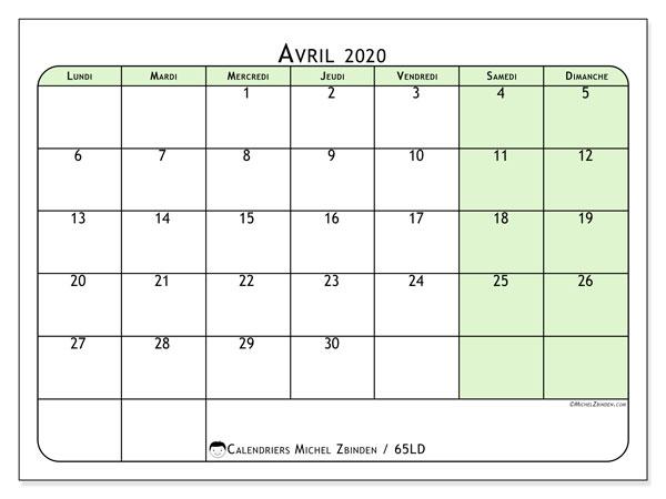 Calendrier avril 2020, 65LD. Calendrier pour le mois à imprimer gratuit.