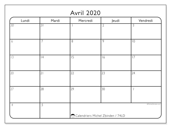Calendriers avril 2020 (LD).  74LD.