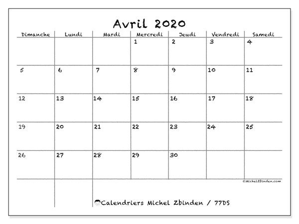 Calendrier Avril 2020 à Imprimer.Calendrier Avril 2020 77ds Michel Zbinden Fr