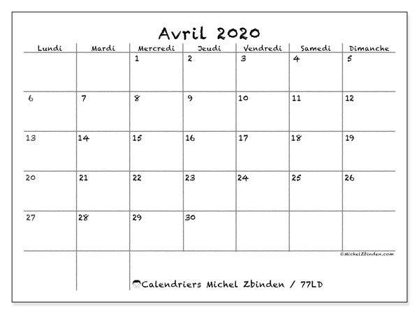 Calendriers avril 2020 (LD).  77LD.