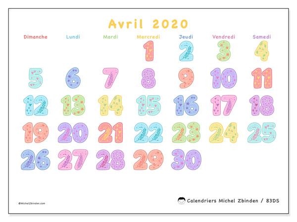 Calendrier avril 2020, 83DS. Calendrier mensuel à imprimer gratuit.