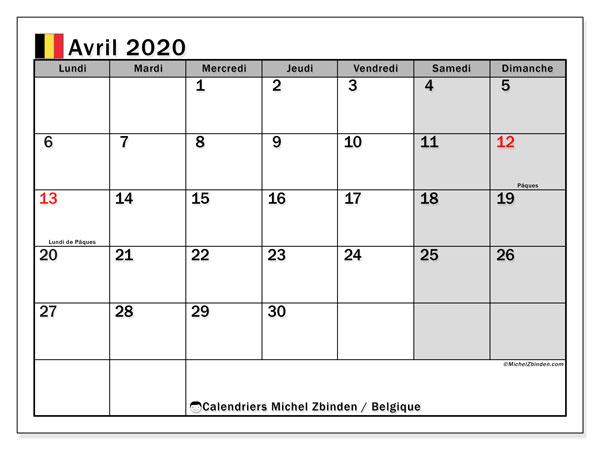 Calendrier avril 2020, avec les jours fériés de la Belgique. Calendrier mensuel à imprimer gratuit.