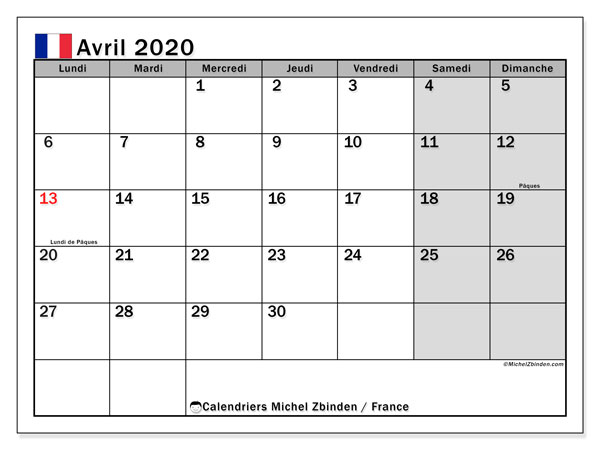 Calendriers avril 2020