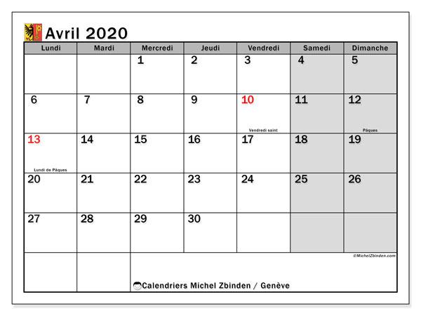 Calendrier avril 2020, avec les jours fériés du Canton de Genève. Calendrier Fêtes et jours fériés à imprimer gratuit.
