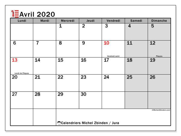 Calendrier avril 2020, avec les jours fériés du Canton du Jura. Calendrier Fêtes et jours fériés à imprimer gratuit.