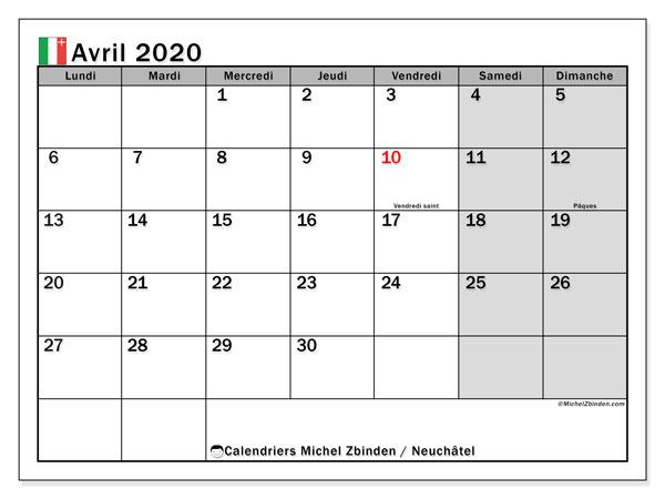 Calendrier avril 2020, avec les jours fériés du Canton de Neuchâtel. Calendrier Fêtes et jours fériés à imprimer gratuit.