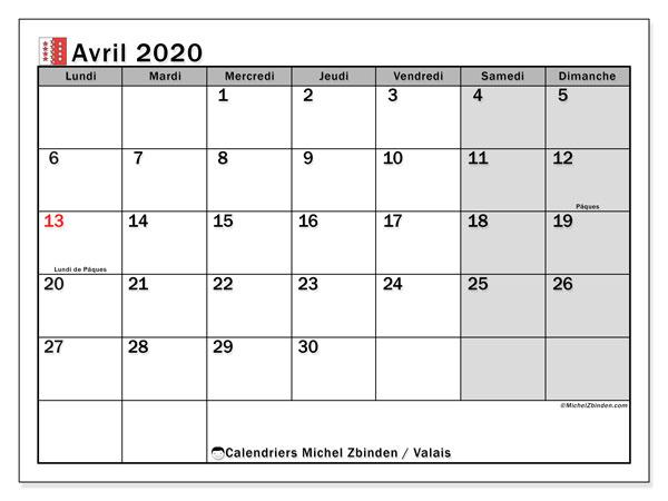 Calendrier avril 2020, avec les jours fériés du Canton du Valais. Calendrier Fêtes et jours fériés à imprimer gratuit.