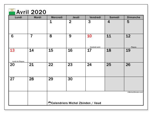 Calendrier avril 2020, avec les jours fériés du Canton de Vaud. Calendrier Fêtes et jours fériés à imprimer gratuit.