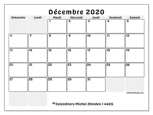 Calendrier décembre 2020, 44DS. Calendrier imprimable gratuit.