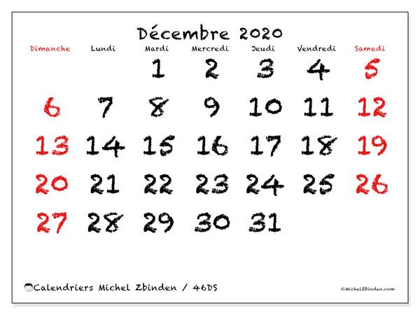 Calendrier décembre 2020, 46DS. Calendrier à imprimer gratuit.