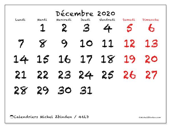 Calendrier décembre 2020, 46LD. Calendrier mensuel à imprimer gratuit.