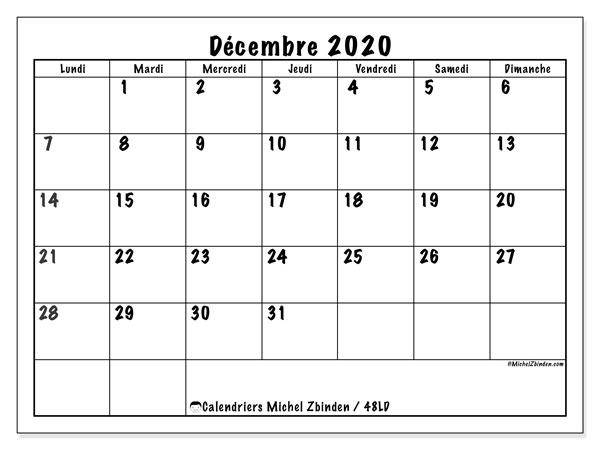 Calendrier décembre 2020, 48LD. Calendrier mensuel à imprimer gratuit.