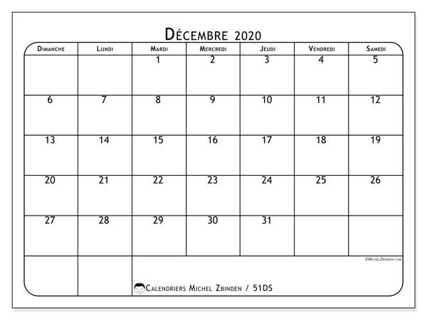 Calendrier décembre 2020, 51DS. Planificateur à imprimer gratuit.