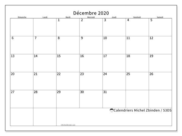 Calendrier décembre 2020, 53DS. Calendrier imprimable gratuit.