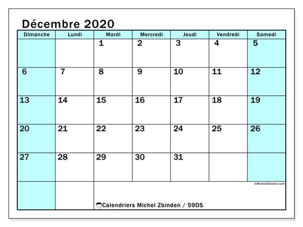 Calendrier décembre 2020, 59DS. Planificateur à imprimer gratuit.