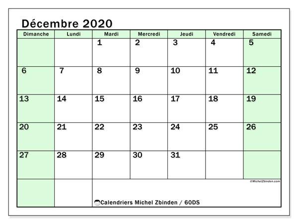 Calendrier décembre 2020, 60DS. Organisateur à imprimer gratuit.
