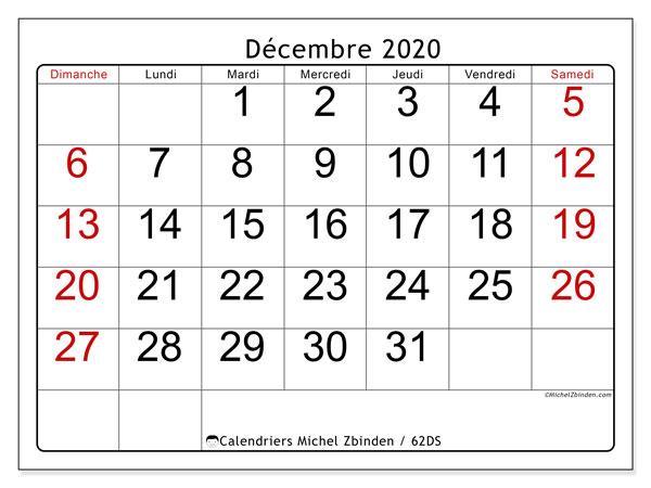 Calendrier décembre 2020, 62DS. Calendrier pour le mois à imprimer gratuit.