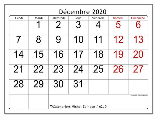 Calendrier décembre 2020, 62LD. Organisateur à imprimer gratuit.