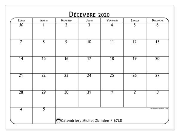 Calendrier décembre 2020, 67LD. Calendrier imprimable gratuit.