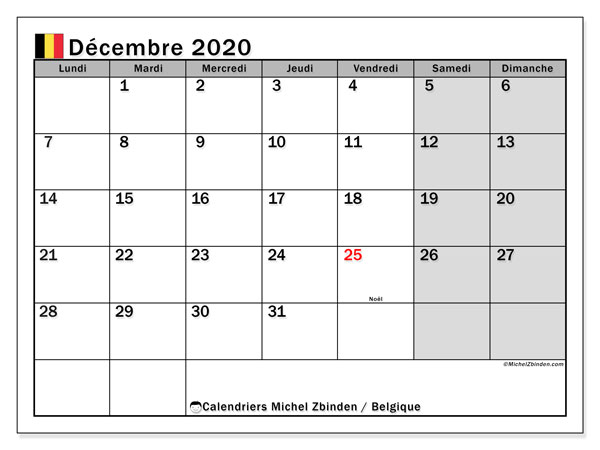 Calendrier décembre 2020, avec les jours fériés de la Belgique. Calendrier à imprimer gratuit avec jours fériés.