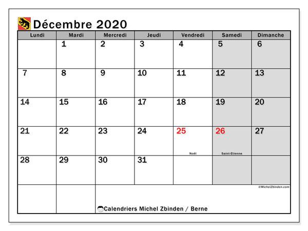 Calendrier décembre 2020, avec les jours fériés du Canton de Berne. Calendrier à imprimer gratuit avec jours fériés.