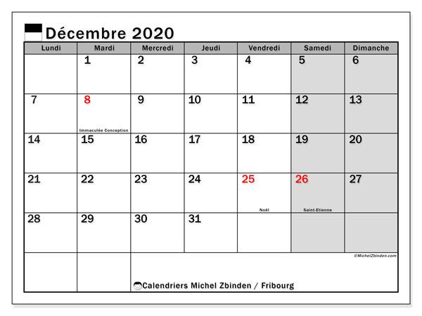 Calendrier décembre 2020, avec les jours fériés du Canton de Fribourg. Calendrier Fêtes et jours fériés à imprimer gratuit.