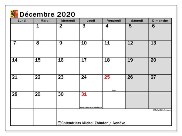 Calendrier décembre 2020, avec les jours fériés du Canton de Genève. Calendrier Fêtes et jours fériés à imprimer gratuit.
