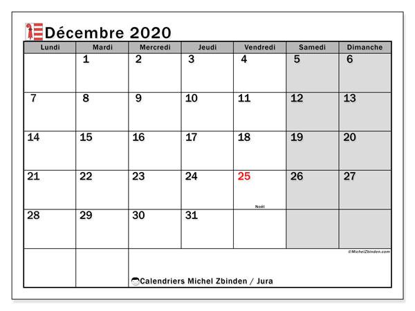 Calendrier décembre 2020, avec les jours fériés du Canton du Jura. Calendrier à imprimer gratuit avec jours fériés.