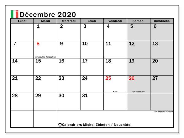 Calendrier décembre 2020, avec les jours fériés du Canton de Neuchâtel. Calendrier à imprimer gratuit avec jours fériés.