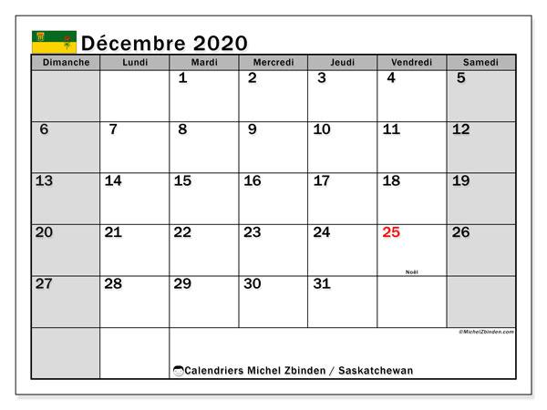 Calendrier Decembre 2020.Calendrier Decembre 2020 Saskatchewan Canada Michel
