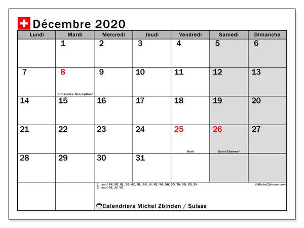 Calendrier décembre 2020, avec les jours fériés de la Suisse. Calendrier à imprimer gratuit avec jours fériés.