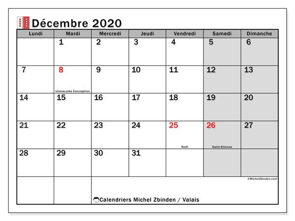 Calendrier décembre 2020, avec les jours fériés du Canton du Valais. Calendrier Fêtes et jours fériés à imprimer gratuit.