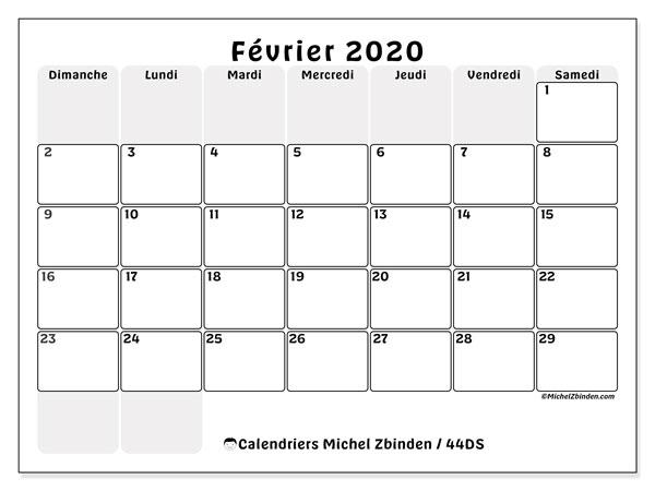 Calendrier Février 2020.Calendrier Fevrier 2020 44ds Michel Zbinden Fr