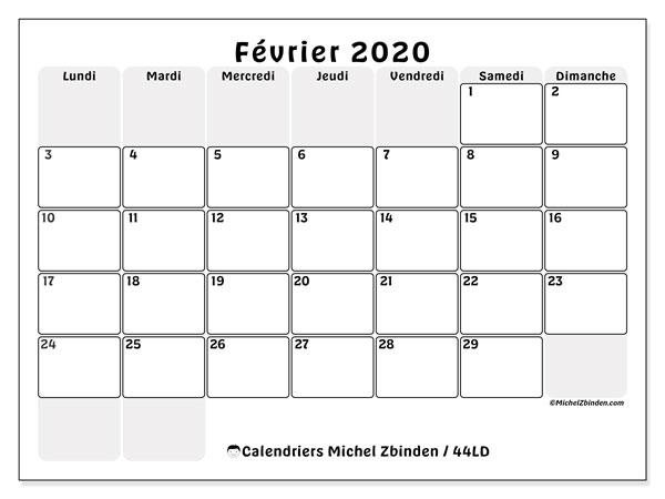 Calendrier février 2020, 44LD. Calendrier gratuit à imprimer.