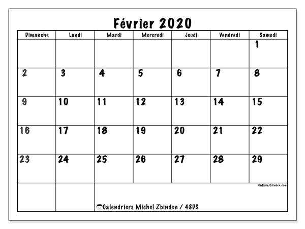 Calendrier Février 2020.Calendrier Fevrier 2020 48ds Michel Zbinden Fr