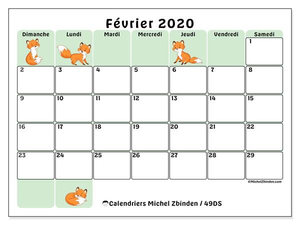 Calendrier février 2020, 49DS. Calendrier pour le mois à imprimer gratuit.