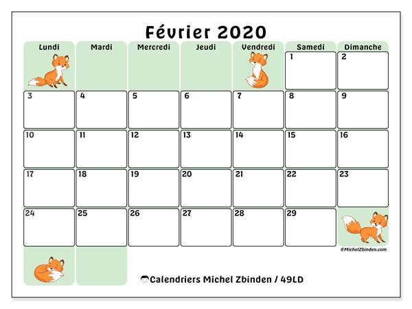 Calendrier février 2020, 49LD. Calendrier à imprimer gratuit.