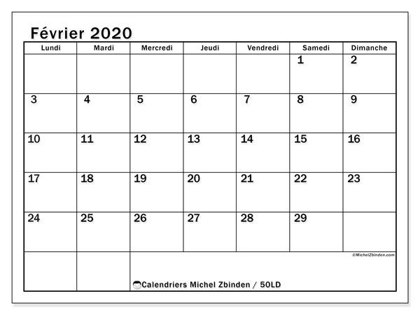 Calendrier Février 2020.Calendrier Fevrier 2020 50ld Michel Zbinden Fr