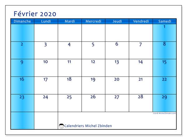 Calendrier février 2020, 58DS. Calendrier à imprimer gratuit.