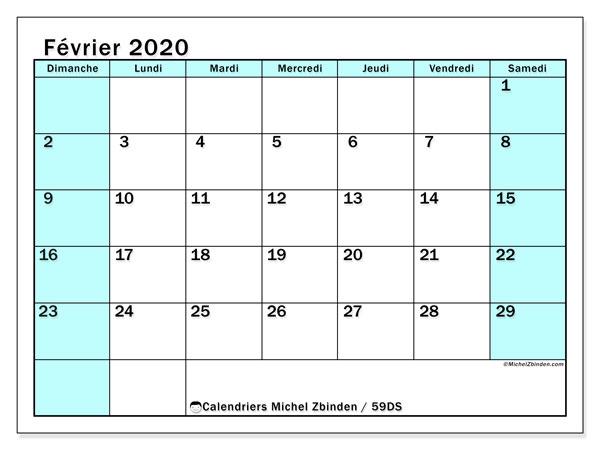 Calendrier février 2020, 59DS. Calendrier imprimable gratuit.