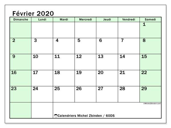 Calendrier février 2020, 60DS. Calendrier mensuel à imprimer gratuit.