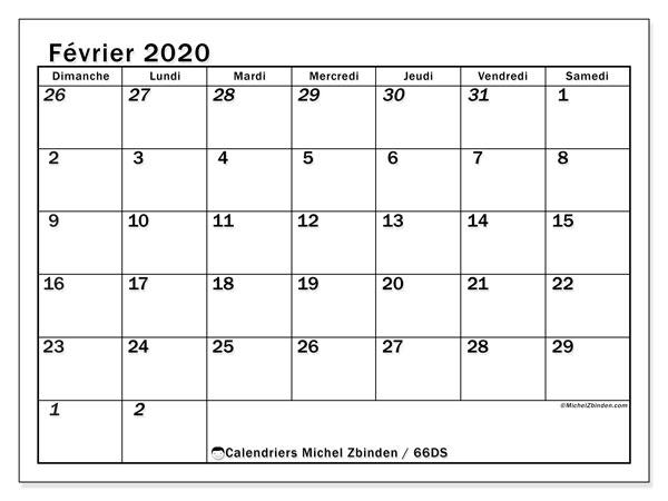 Calendrier février 2020, 66DS. Planificateur à imprimer gratuit.