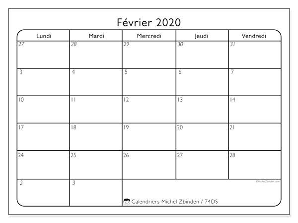 Calendrier février 2020, 74DS. Calendrier pour le mois à imprimer gratuit.