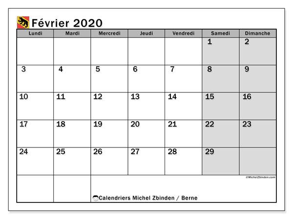 Calendrier février 2020, avec les jours fériés du Canton de Berne. Calendrier à imprimer gratuit avec jours fériés.