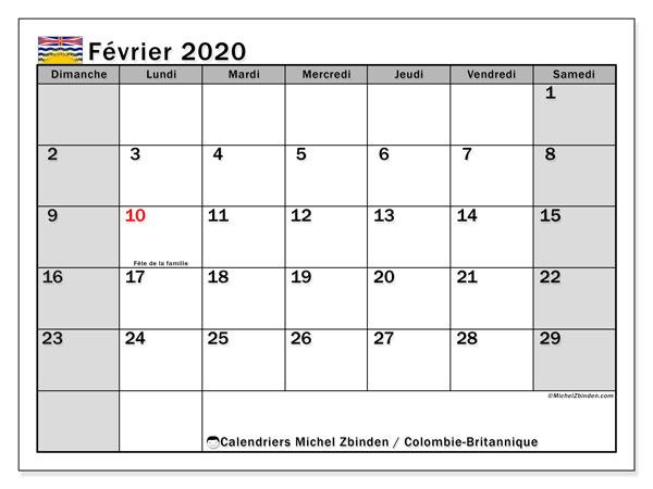 Calendrier février 2020, avec les jours fériés de la Colombie-Britannique. Calendrier à imprimer gratuit avec jours fériés.