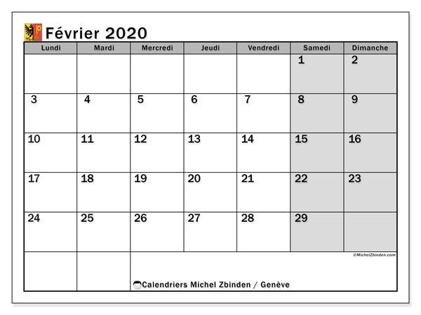Calendrier février 2020, avec les jours fériés du Canton de Genève. Calendrier à imprimer gratuit avec jours fériés.