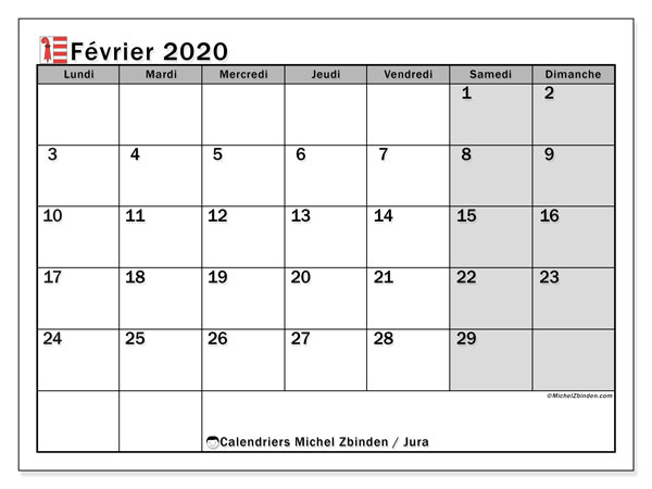 Calendrier février 2020, avec les jours fériés du Canton du Jura. Calendrier à imprimer gratuit avec jours fériés.