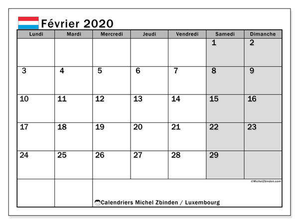 Calendrier février 2020, avec les jours fériés du Luxembourg. Calendrier à imprimer gratuit avec jours fériés.