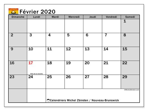 Calendrier février 2020, avec les jours fériés du Nouveau-Brunswick. Calendrier à imprimer gratuit avec jours fériés.